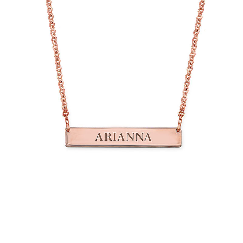 Tiny 18ct Rose Gold Plated Bar Necklace with Engraving for Teens