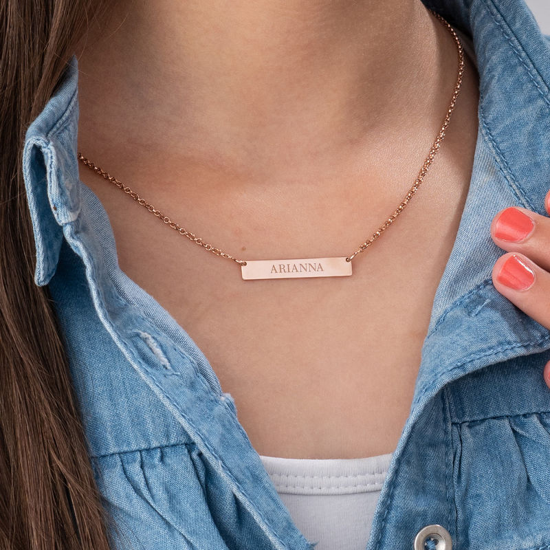 Tiny 18ct Rose Gold Plated Bar Necklace with Engraving for Teens - 2