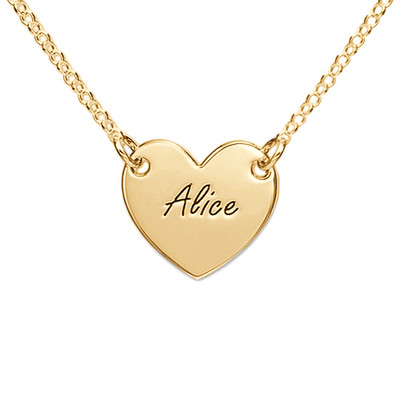 Engraved Heart Necklace with 18ct Gold Plating for Teens