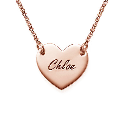 Engraved Heart Necklace with 18ct Rose Gold Plating for Teens