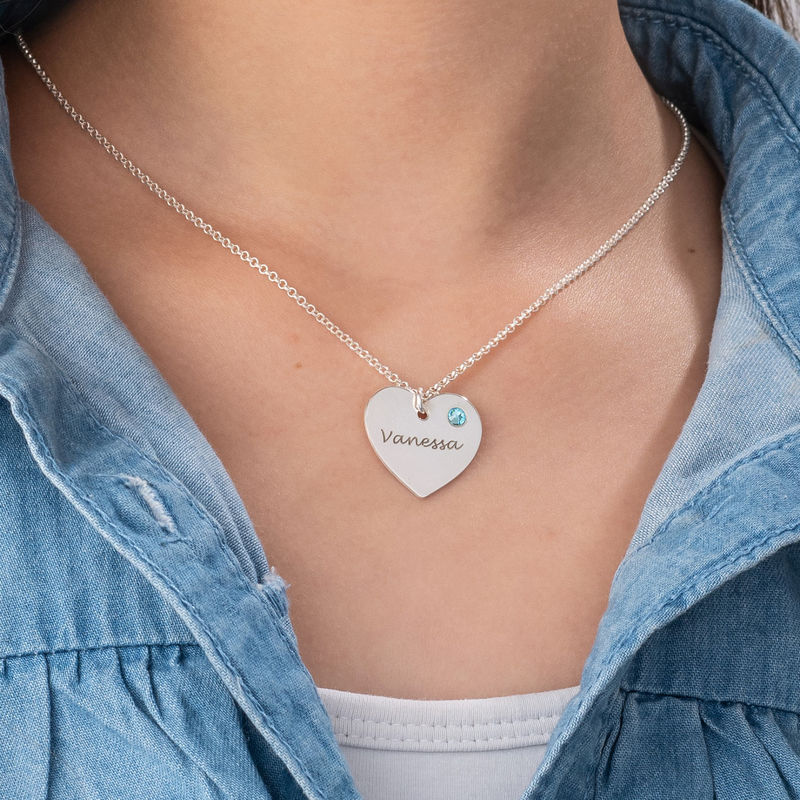 Teen's Personalised Heart Necklace with Birthstone in Silver - 2