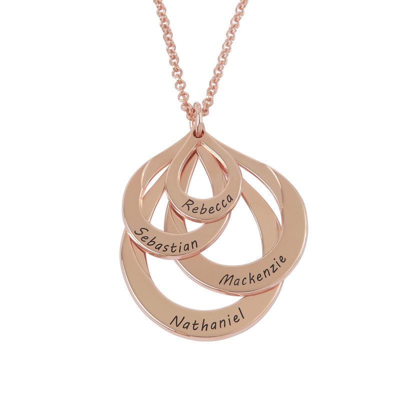 Engraved Family Necklace - Four Drops in Rose Gold Plating - 1