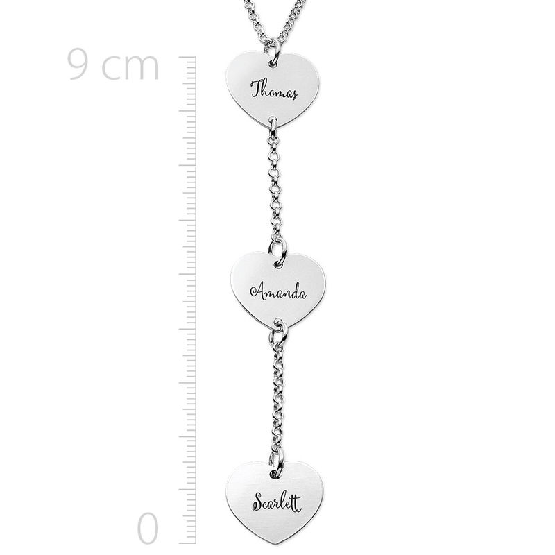 Personalised Y Necklace in Sterling Silver with Heart Shaped Pendants - 1