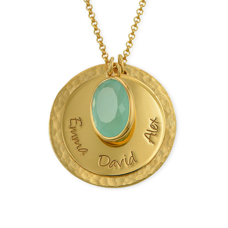 Disc Necklace with Hammered Finish and Coloured Stone