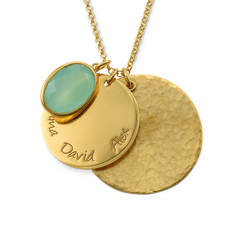 Disc Necklace with Hammered Finish and Coloured Stone - 1