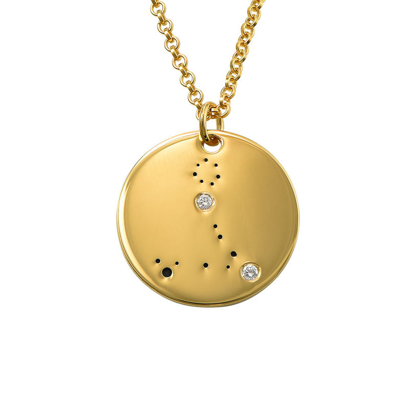 Pisces Constellation Necklace with Diamonds in Gold Plating