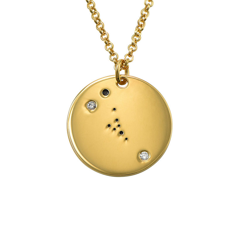Taurus Constellation Necklace with Diamonds in Gold Plating