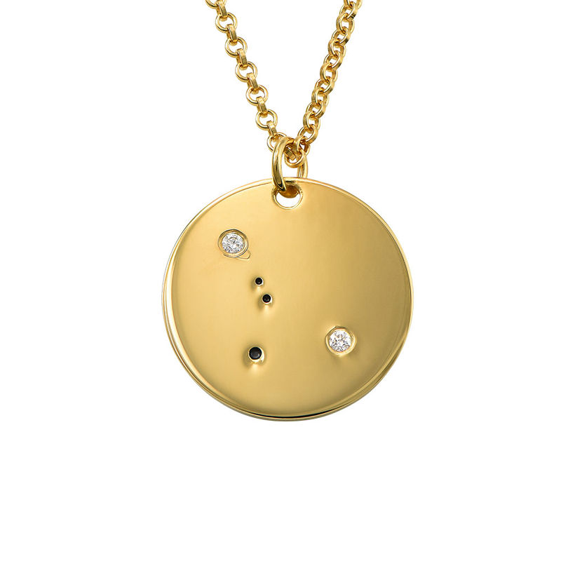 Cancer Constellation Necklace with Diamonds in Gold Plating