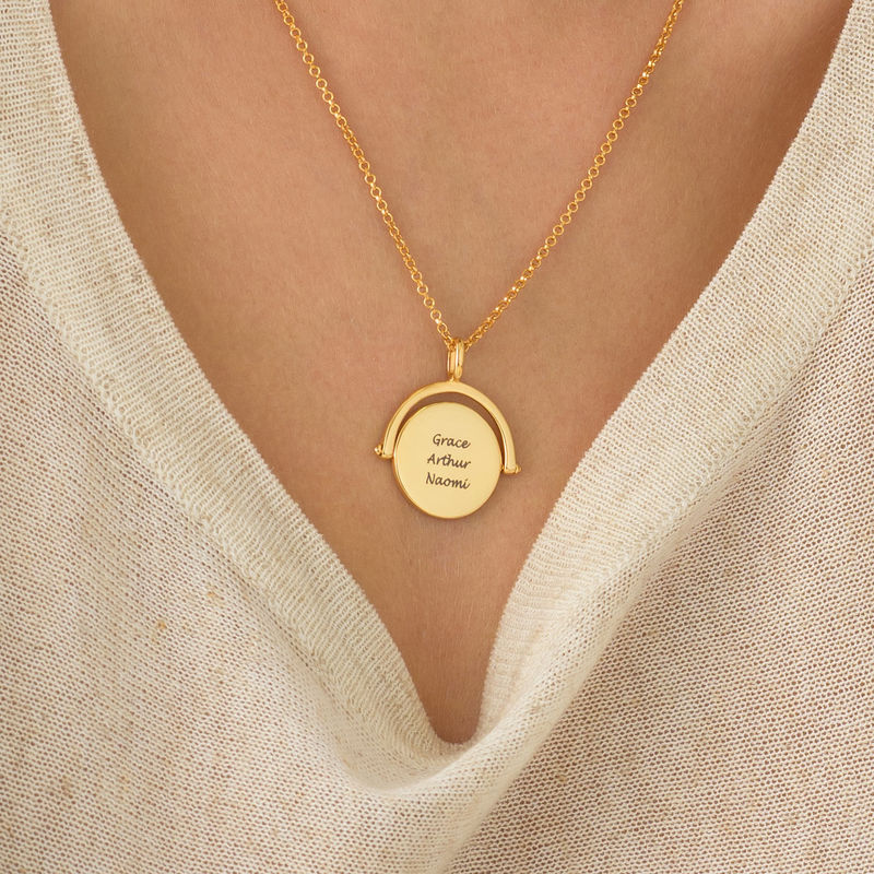 Spinning Infinity  Pendant Necklace in Gold Plating - 1 - 2 - 3 - 4
