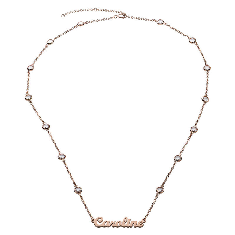Name Necklace with Clear Crystal Stone  in Rose Gold Plating - 1