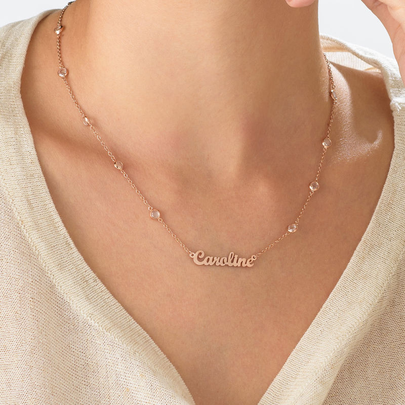 Name Necklace with Clear Crystal Stone  in Rose Gold Plating - 1 - 2 - 3