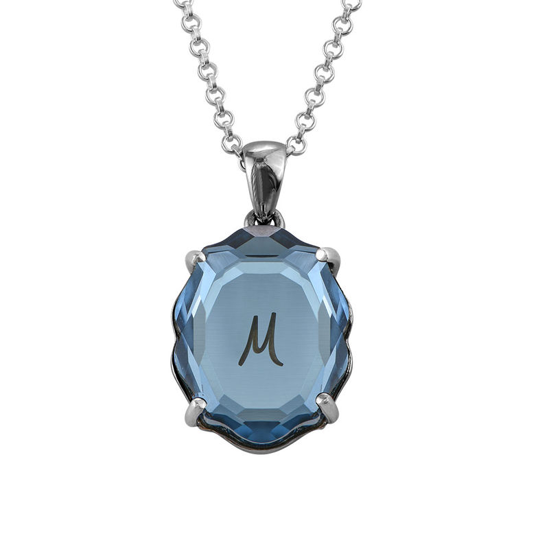Swarovski Stone Engraved Necklace with Initial in Silver