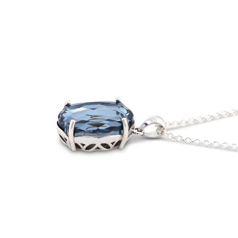 Swarovski Stone Engraved Necklace with Initial in Silver - 1