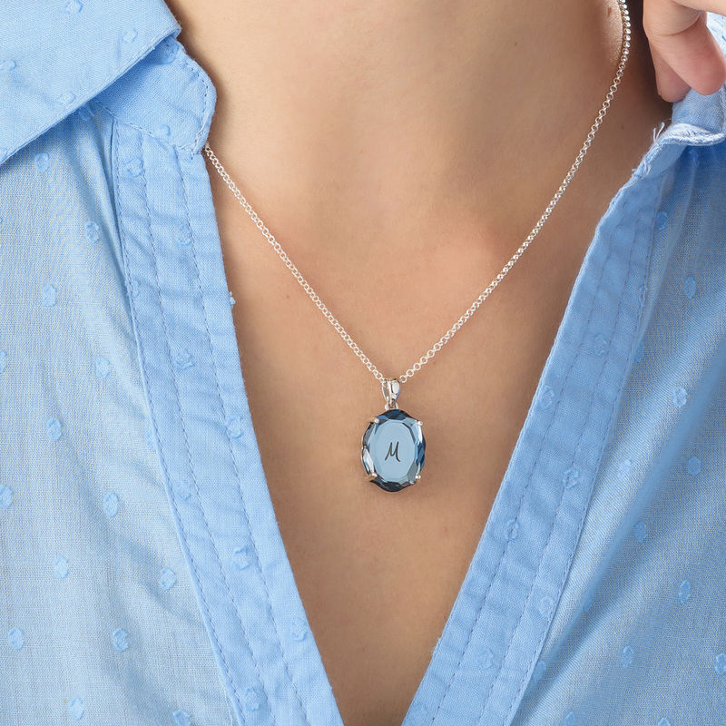 Swarovski Stone Engraved Necklace with Initial in Silver - 3
