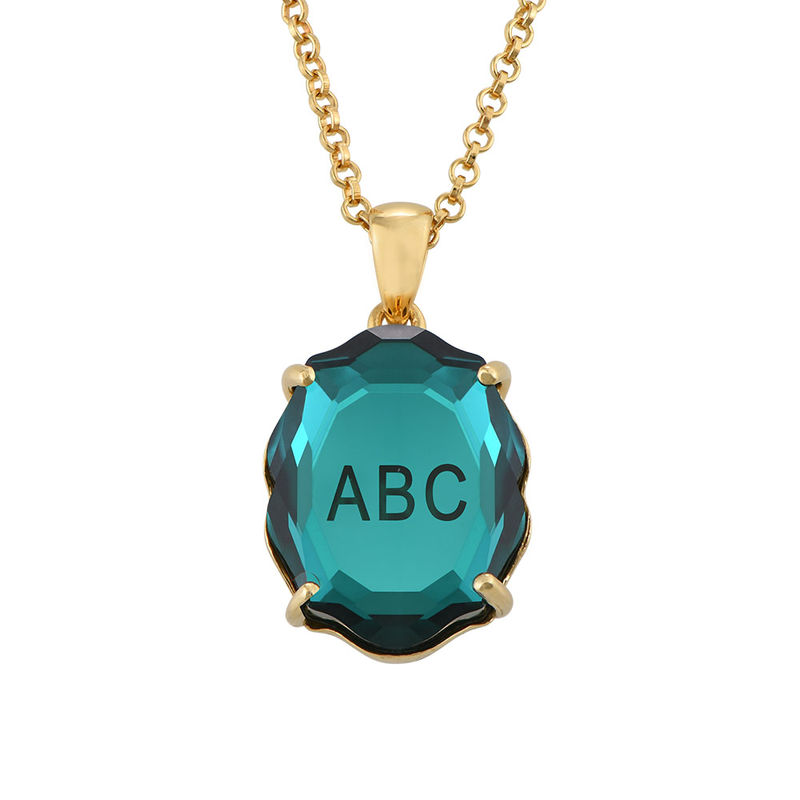 Swarovski Stone Engraved Necklace with Initials in Gold Plating