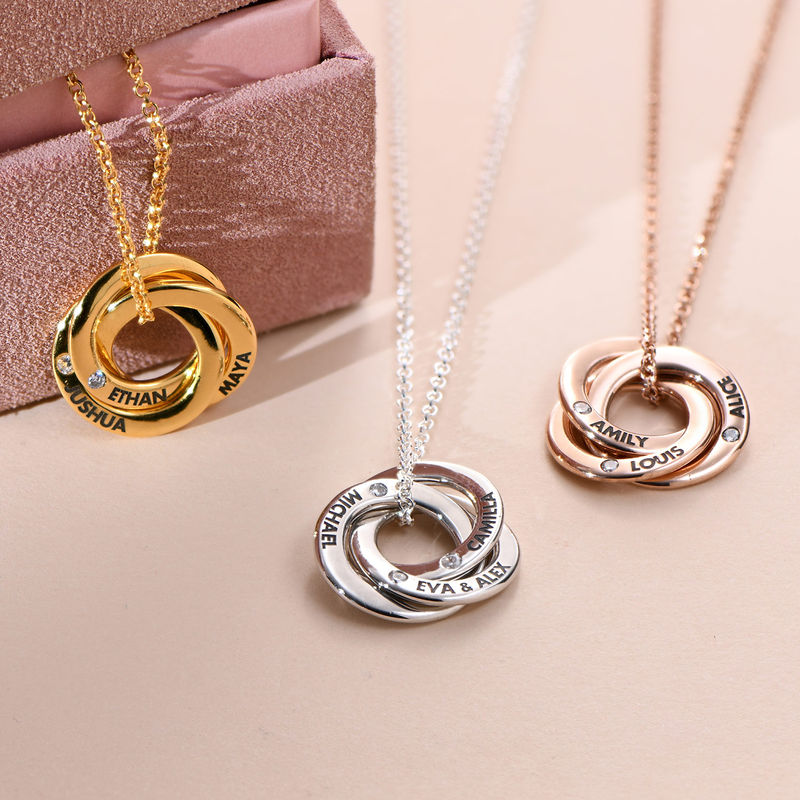 Russian Ring Necklace in Silver Rose Gold Plated with Cubic  Zirconia Stones - 1