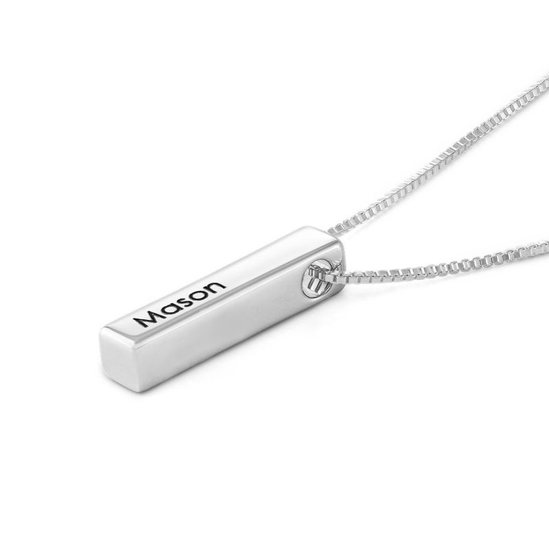Short 3D Bar Necklace in Silver - 2