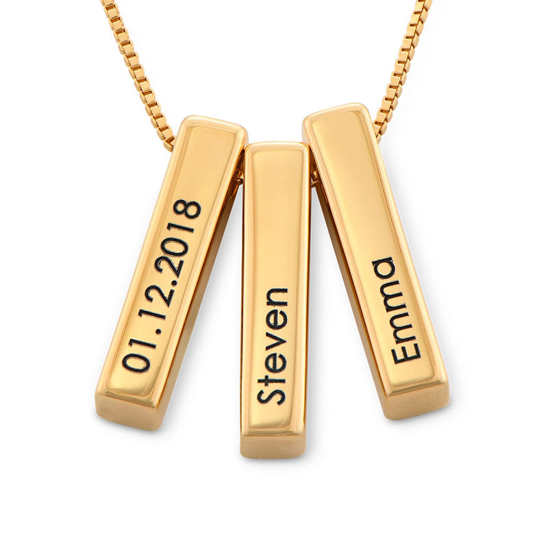 Short 3D Necklace Bar in Gold Plating