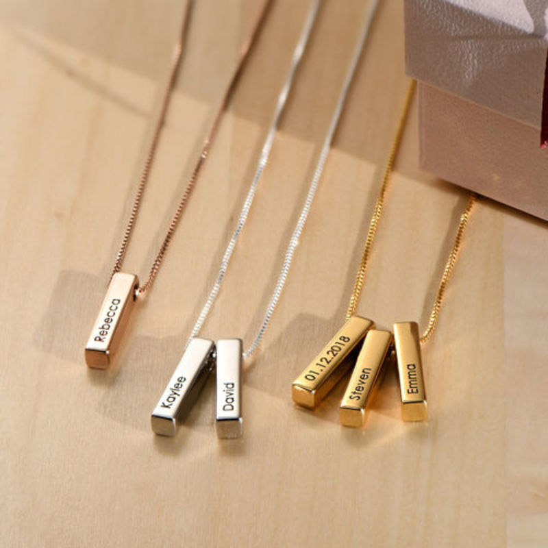 Short 3D Necklace Bar in Gold Plating - 4