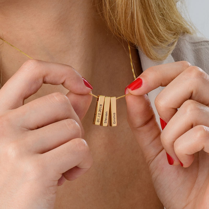 Short 3D Necklace Bar in Gold Plating - 7