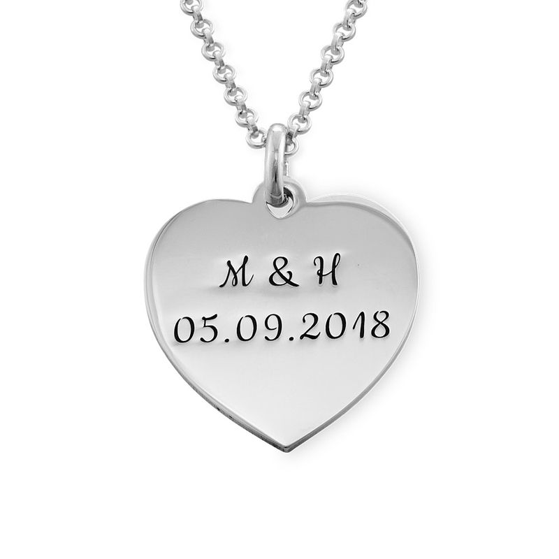 Heart Necklace with Initial in Silver
