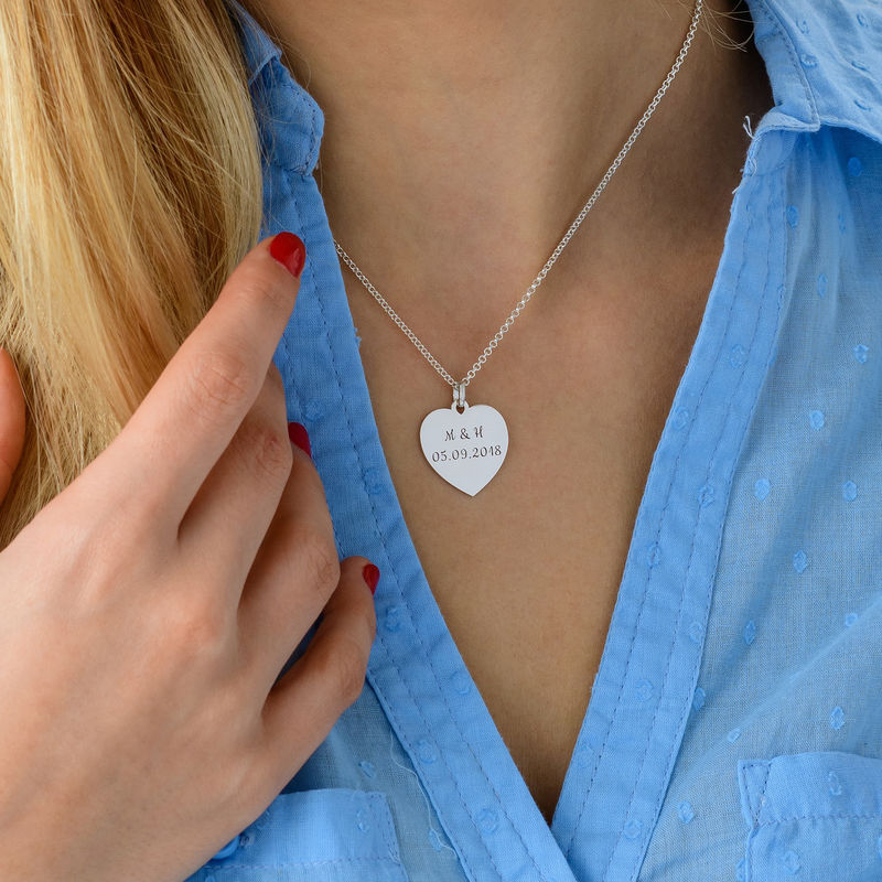 Heart Necklace with Initial in Silver - 3