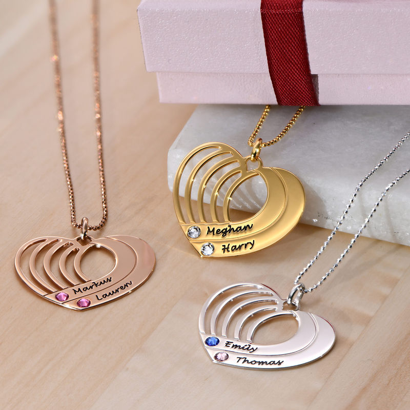 Engraved Heart Necklace in Gold Plating - 2