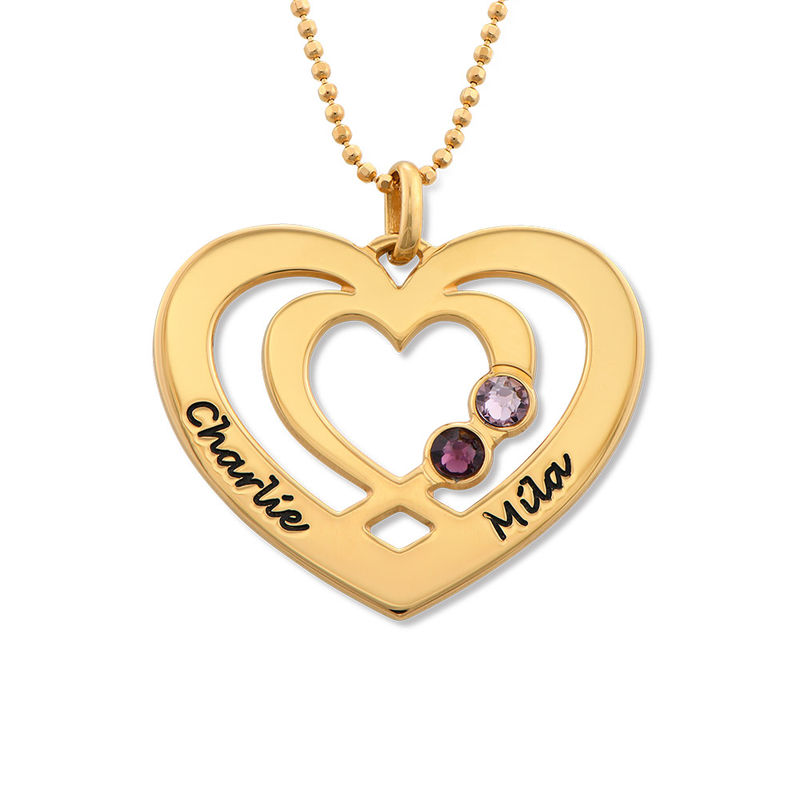 Heart Necklace in Gold Plating with Birthstones