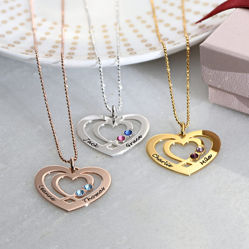 Heart Necklace in Gold Plating with Birthstones - 1 - 2