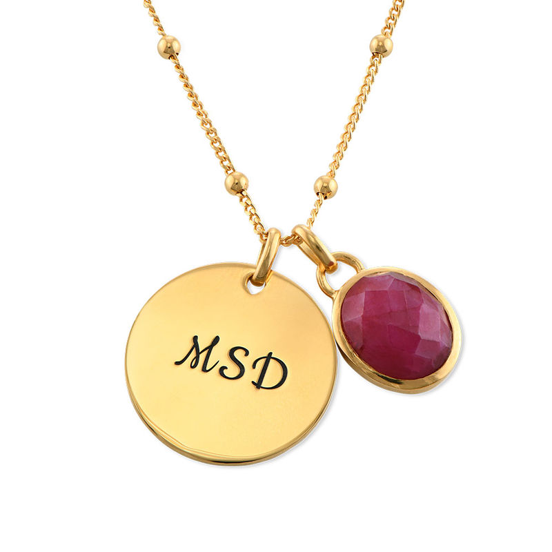 Disc Necklace in Gold Plating with Semi-Precious Gemstone - 1