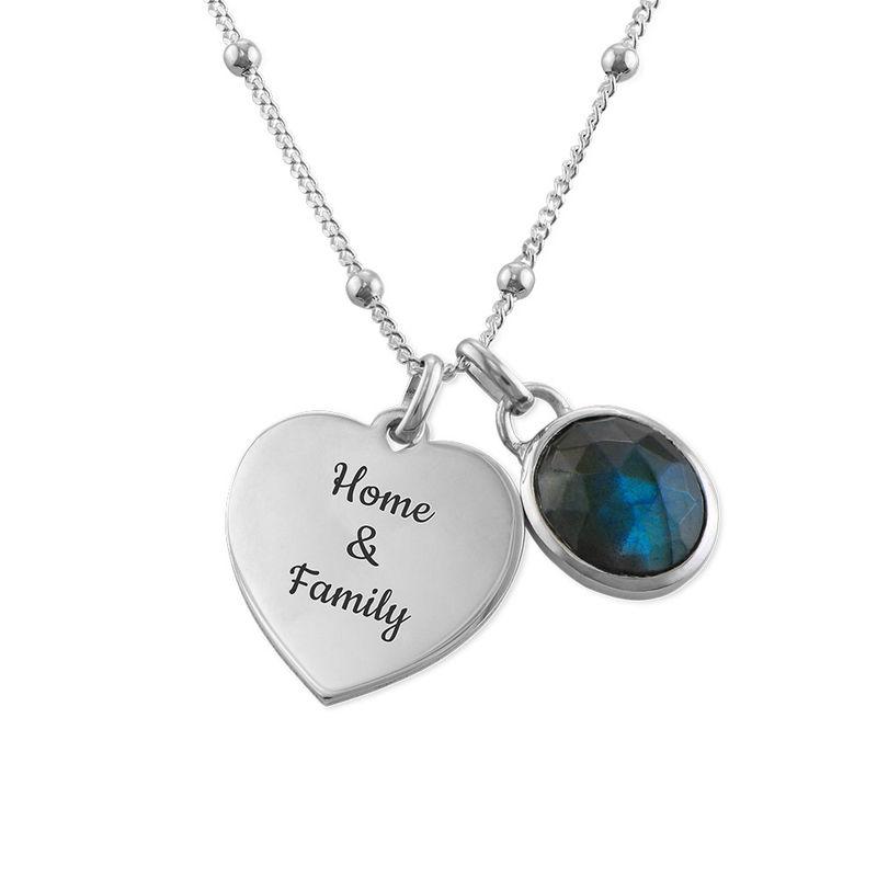 Heart Necklace in Silver with Semi-Precious Gemstone