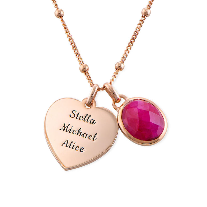 Heart Necklace in Rose Gold Plating with Semi-Precious Gemstone