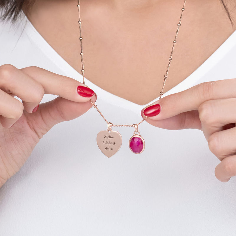 Heart Necklace in Rose Gold Plating with Semi-Precious Gemstone - 2
