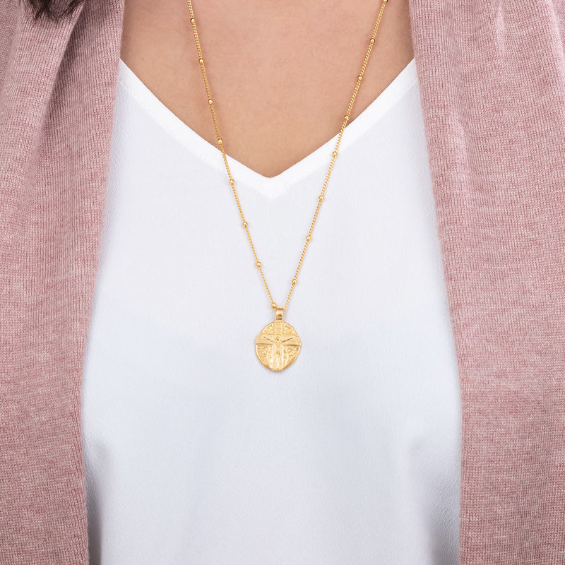Jesus Christ Coin Necklace in Gold Plating - 3