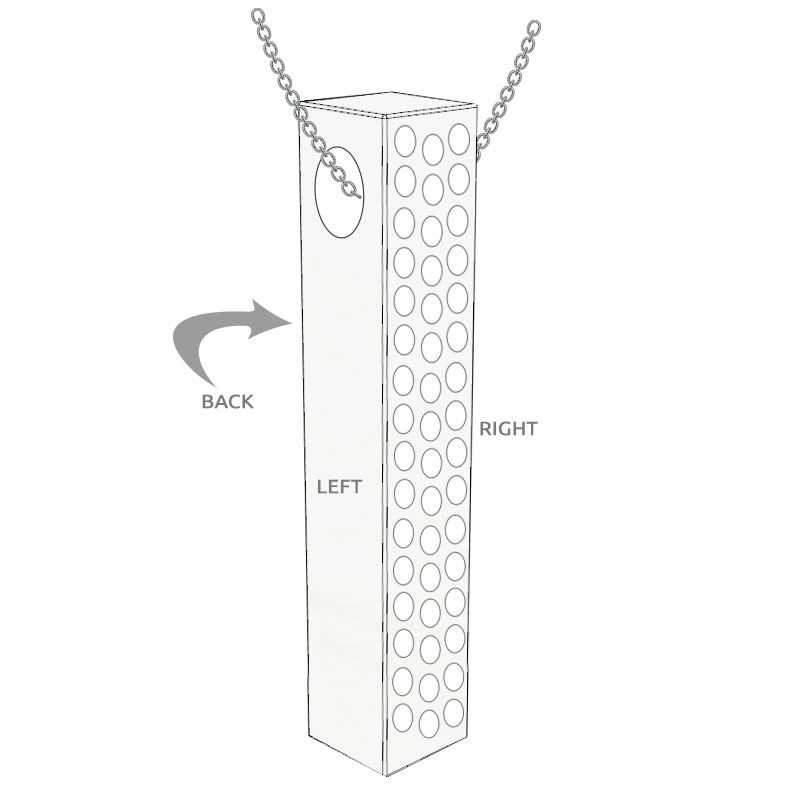Vertical 3D Bar Necklace with Cubic Zirconia in Silver - 5