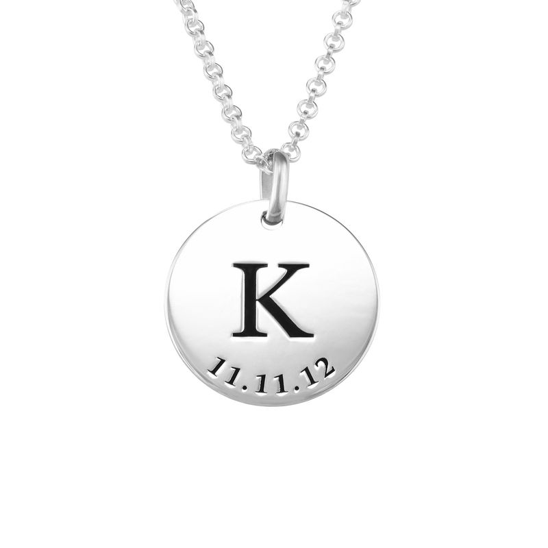 Personalised Initial and Date Necklace in Sterling Silver