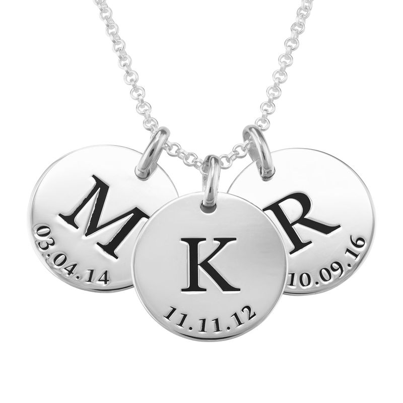 Personalised Initial and Date Necklace in Sterling Silver - 1