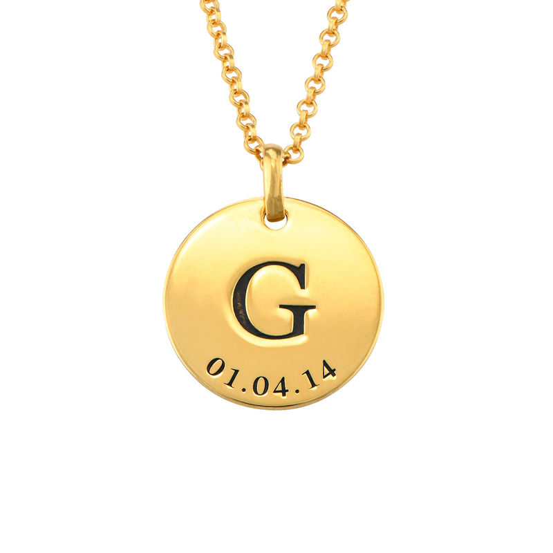 Personalised Initial and Date Necklace in Gold Plating