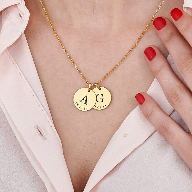 Personalised Initial and Date Necklace in Gold Plating - 5