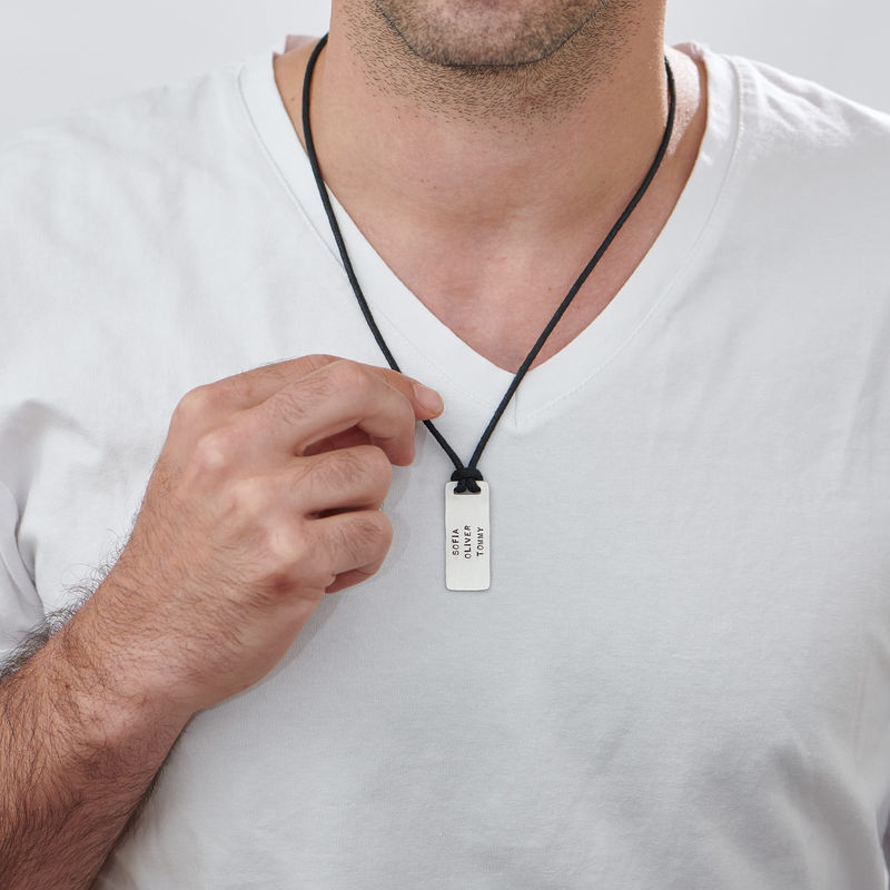 Custom Dog Tag Wax Cord Necklace for Men - 1