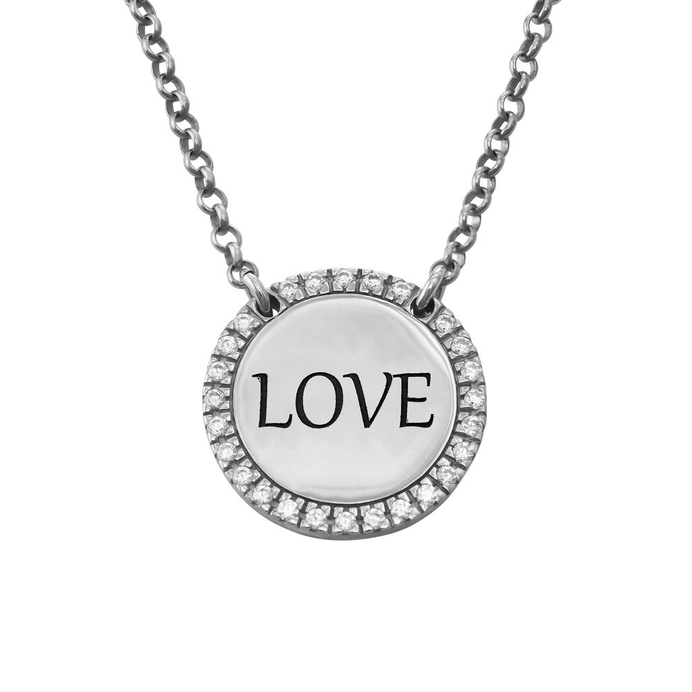 Personalised Round Cubic Zirconia Necklace in Silver - 1