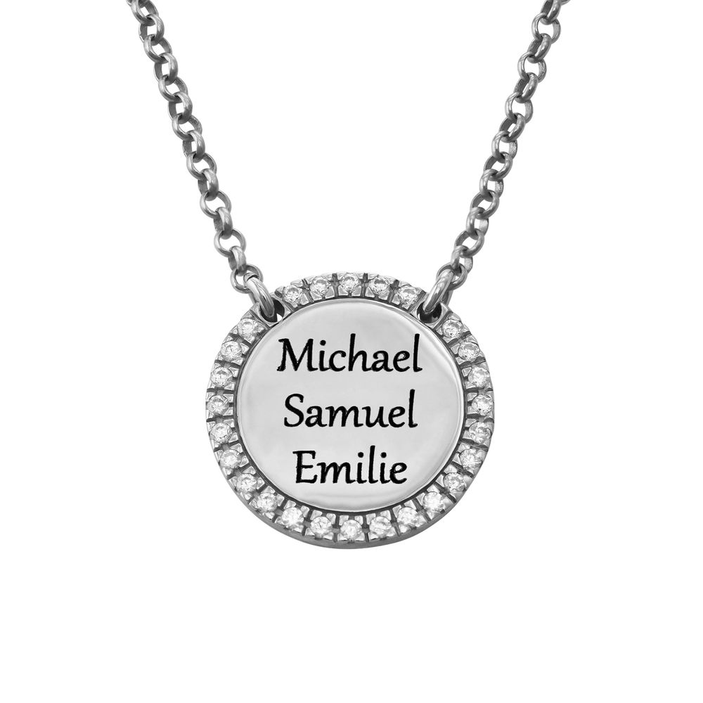 Personalised Round Cubic Zirconia Necklace in Silver - 2