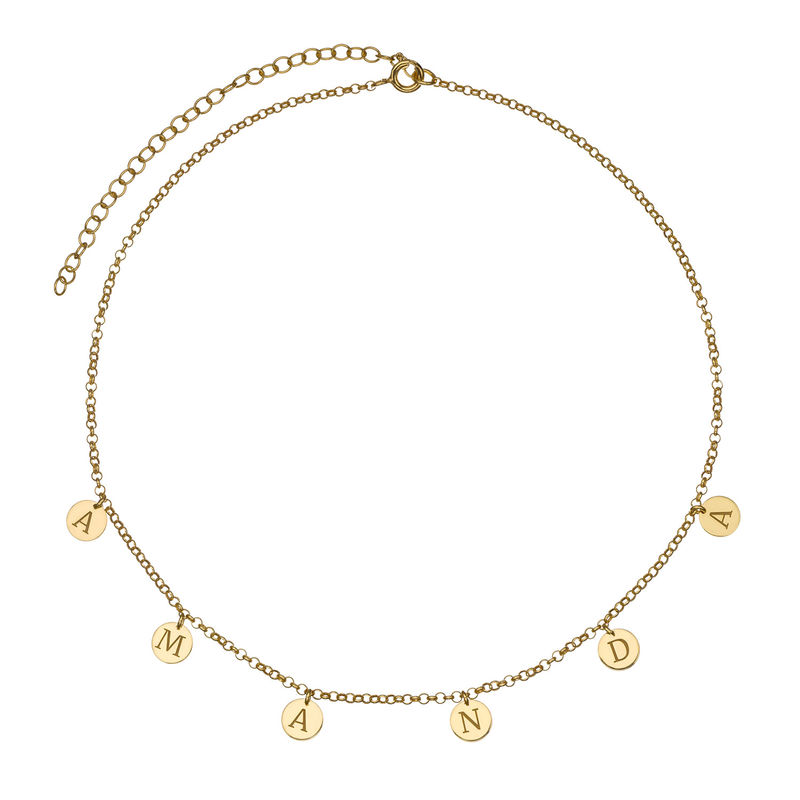 Initials Choker Necklace in Gold Plating - 1