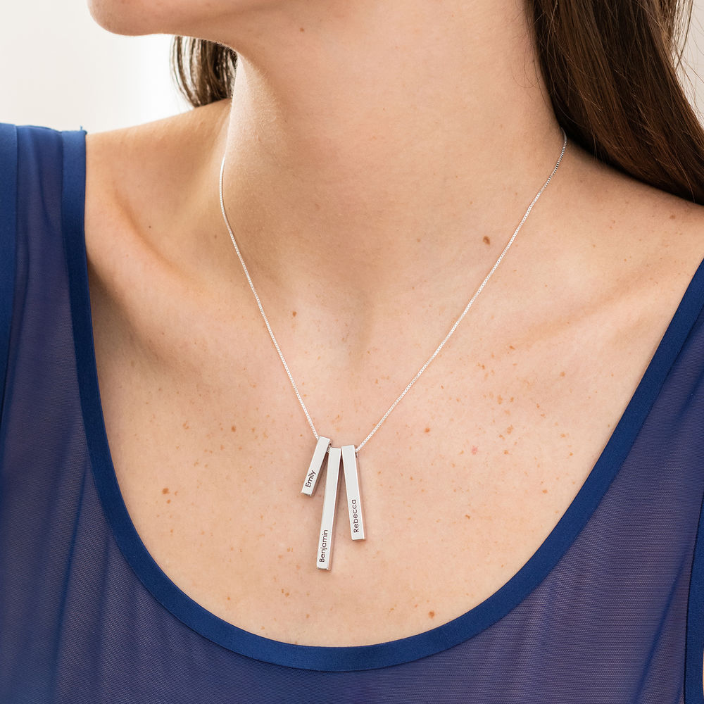 Engraved Triple 3D Vertical Bar Necklace in Sterling Silver - 3