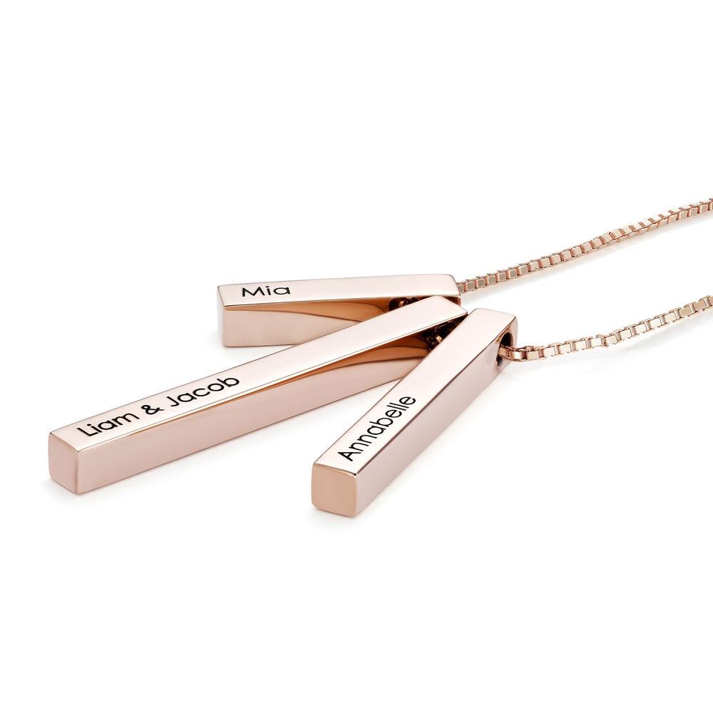 Engraved Triple 3D Vertical Bar Necklace in Rose Gold Plating - 1