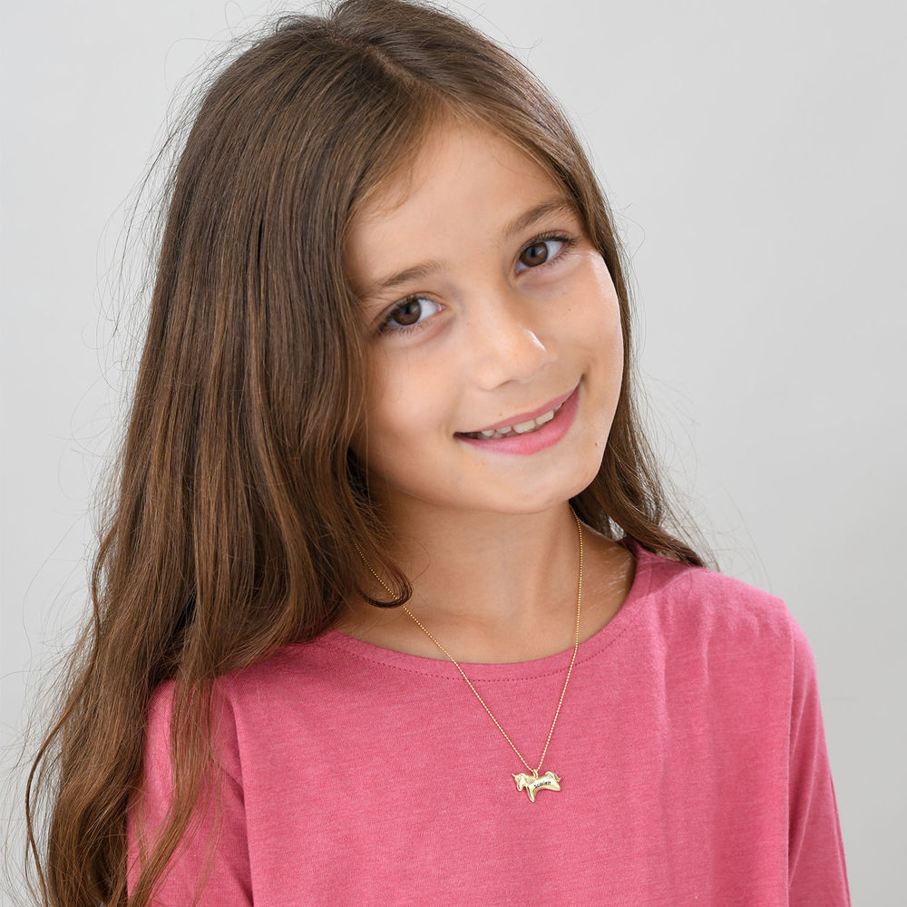Unicorn Necklace for Girls in 10ct Yellow Gold with Cubic Zirconia - 1
