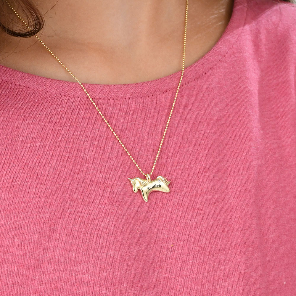 Unicorn Necklace for Girls in 10ct Yellow Gold with Cubic Zirconia - 2