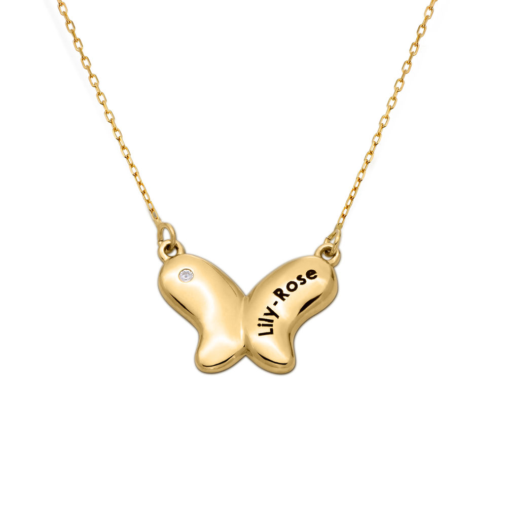 10ct Gold Butterfly Necklace for Girls with Cubic Zirconia