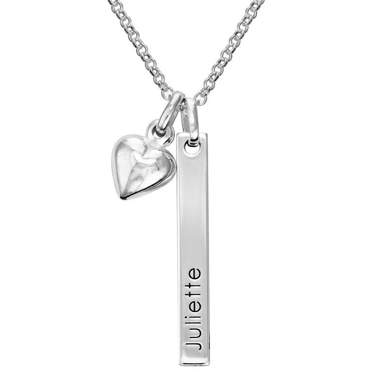 Name Bar Necklace for Girls with Heart Pendant in Sterling Silver
