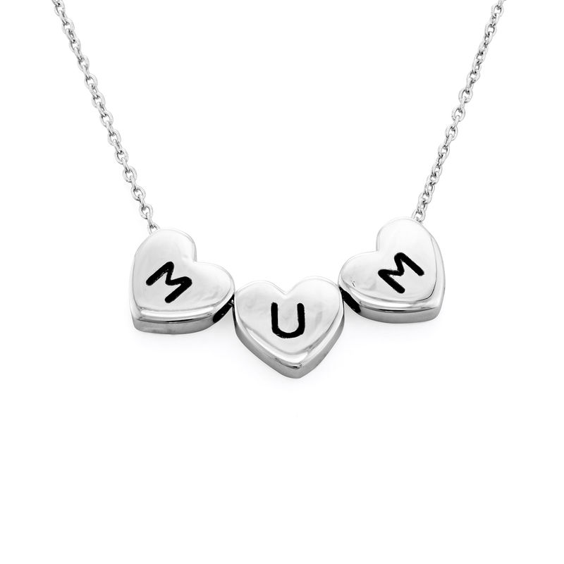 Initial Hearts Stackable Necklace in Sterling Silver